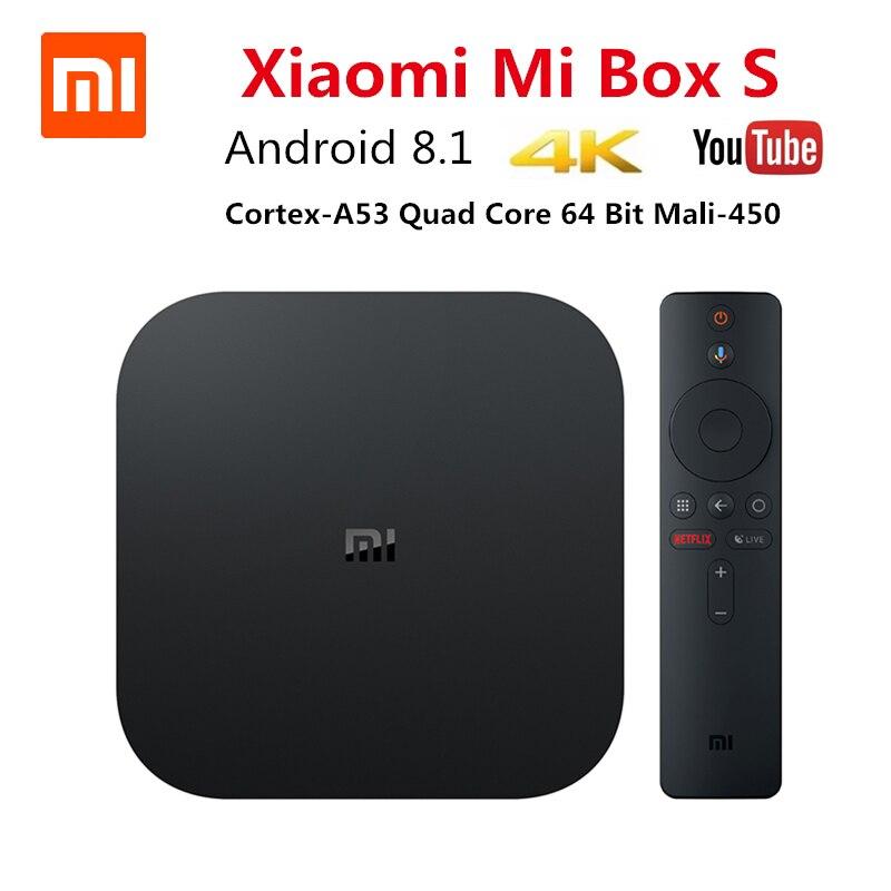 Xiaomi Mi Box S 4K TV Box Cortex-A53 Quad Core 64 bit Mali-450 Android 8.1 2GB+8GB HDMI2.0 2.4G/5.8G WiFi BT4.2 TV Box new xiaomi mi box s 4k tv box cortex a53 quad core 64 bit mali 450 android 8 1 2gb 8gb hdmi2 0 2 4g 5 8g wifi bt4 2 set top box