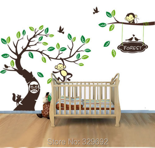 aliexpress com buy oversize personalised name monkey owl free shipping oversized birch tree wall decals for nursery