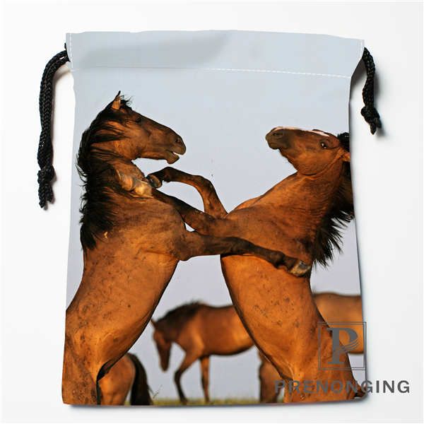 Custom Horse Animal Drawstring Bags Printing Fashion Travel Storage Mini Pouch Swim Hiking Toy Bag Size 18x22cm #171203@1-04