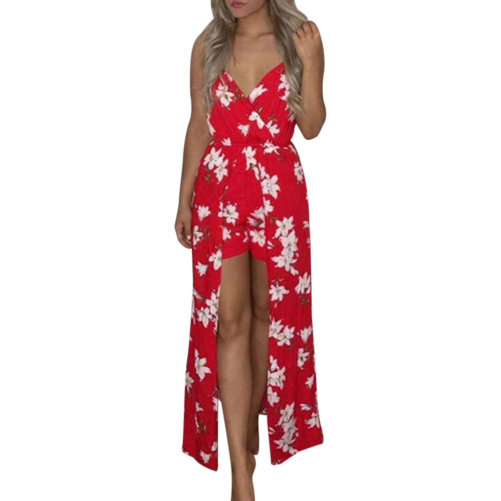 Boho floral printed strapless jumpsuit women ruffles backless long pants  romper with sashes loose overalls d1135 5fb5df0ac1f8