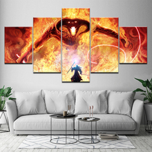 Painting On The Wall Gandalf FightingThe Dragon Lord of the Rings Balrog Movie Pictures For Living Room Framed Artwork