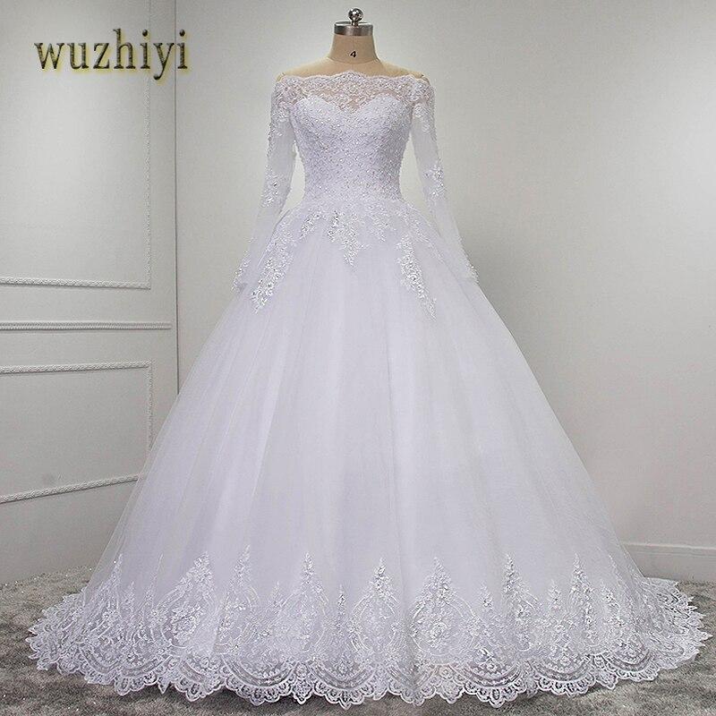 wuzhiyi vestidos de novia Long Sleeves Quality robe de mariee ball grown 2019 casamento Lace wedding
