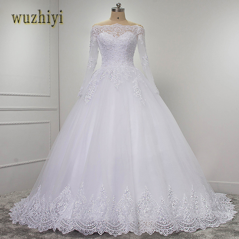 wuzhiyi vestidos de novia Long Sleeves lace dress ball gown wedding dresses 2018 casamento Lace wedding dress Plus size dress
