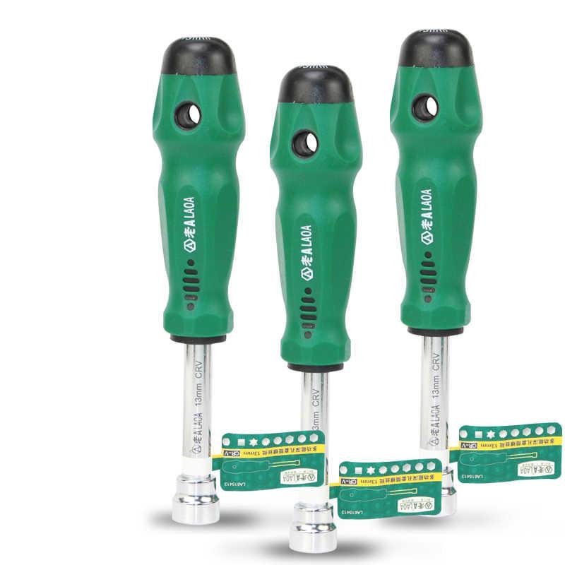 LAOA Mulction Socket Screwdriver Rubber Handle Screw Driver Tool Arbor Hardening Antislip Metal for Hex Screws