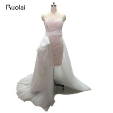 Ruolai Real Photo Mermaid Wedding Dresses Short Train