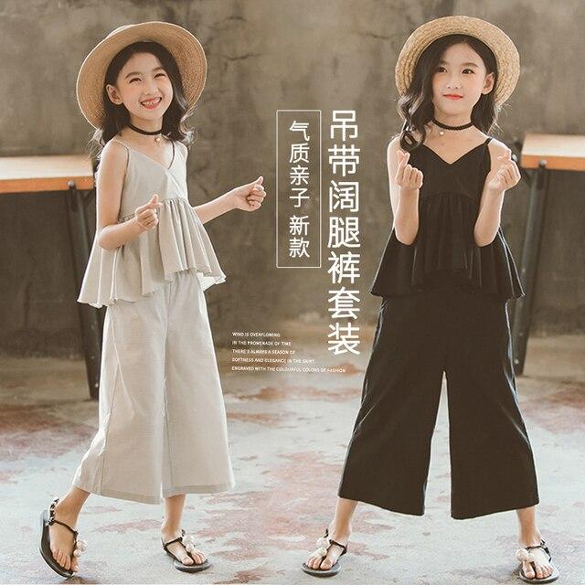 4f91a38eeeef4 Duża odzież dziecięca dziewczyny lato 2019 nowa moda trendy zachodnia styl  garnitur szelki szerokie spodnie nogi