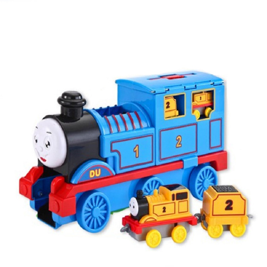 LINTINGHAN Sliding back force track children's storage toy Thomas traction small train portable storage small train