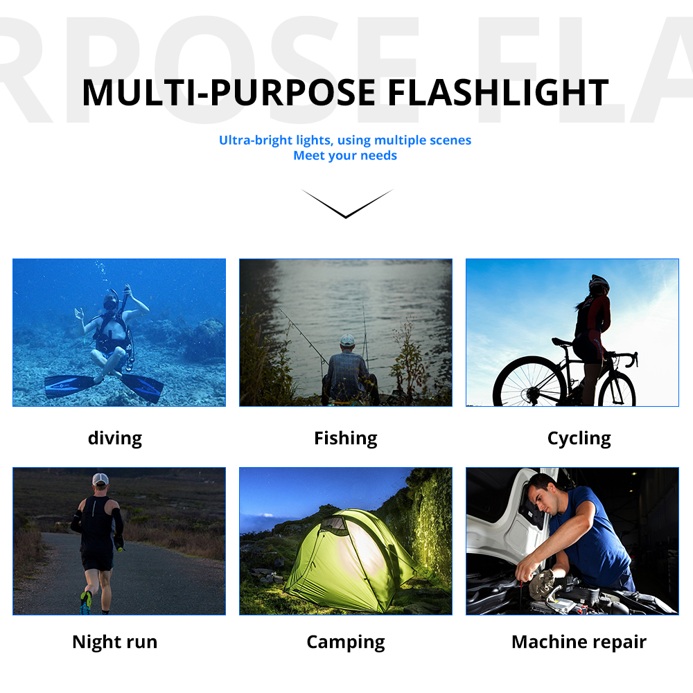 Image 5 - 15000 Lumens L2 Professional Diving flashlight Scuba Torch LED 200M Underwater Flashlights led Powerful Dive lamp 18650 or 26650-in LED Flashlights from Lights & Lighting