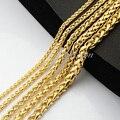 1 pcs 3mm 4mm 5mm 6mm 7mm Longo Grandes Cadeias De Trigo Amarelo Banhado A Ouro Cheio ligação Colar Para O Homem de Jóias das Mulheres