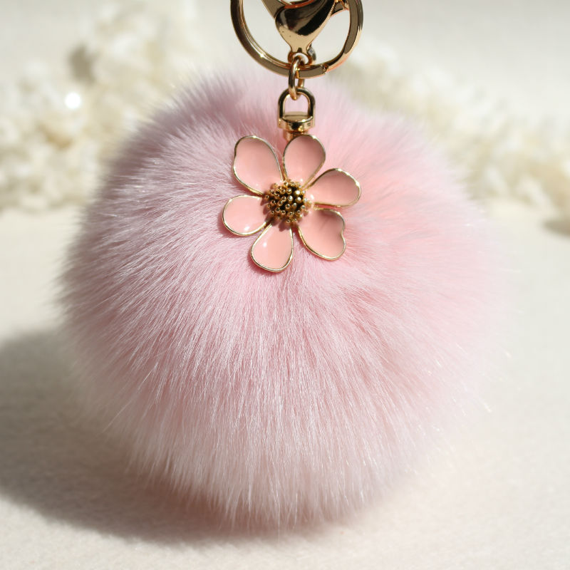 10cm Fluffy Pompom Flower Genuine Real Fox Fur Pom Pom Keychain Fur Ball Key Chain Car Women Bag Charm Accessories Pendants chaveiro fluffy for keychain fake rabbit fur ball pom pom cute charms pompom gifts for women car bag accessories