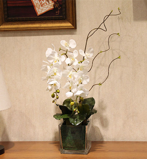 Dekoideen Party High Quality Orchid Arrangement Flower+ Leaves Artificial