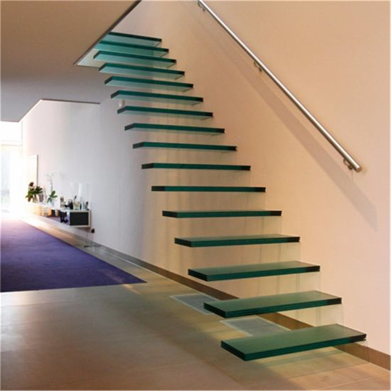 Modern Custom Glass Railing Build Floating Staircase With Wood | Floating Stairs With Glass Railing | Wall | Commercial | Glass Staircase | Thin Glass | Modern
