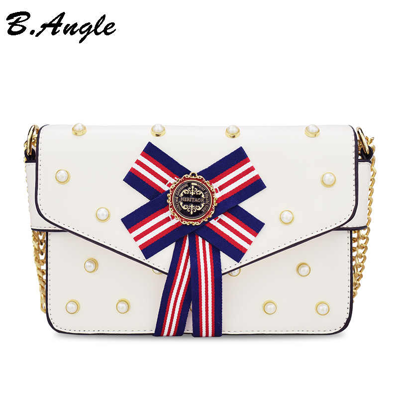 Fashion women badge bag women messenger bag luxury leather chain bag pearl handbag women shoulder bags leather leather crossbody