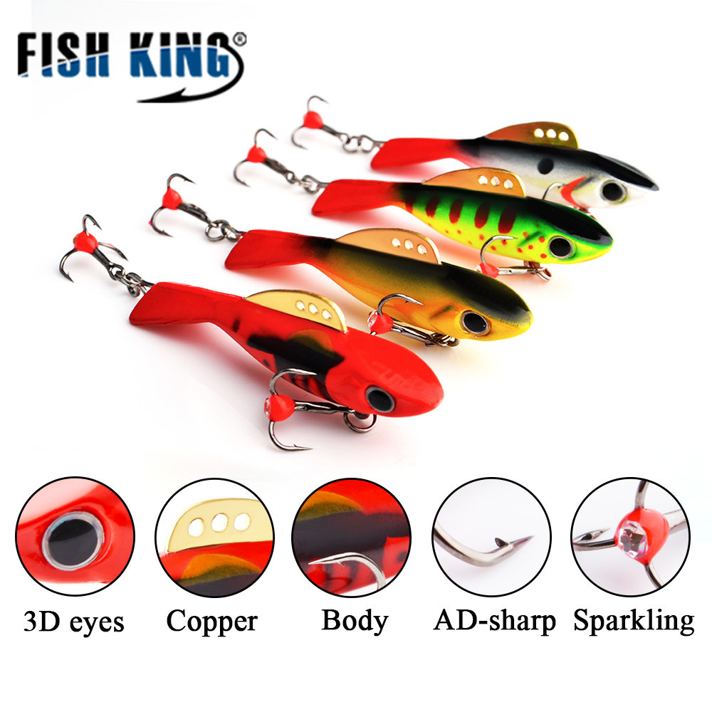 FISH KING 4pcs/lot 6.5cm/17.5g Fishing Lure Winter Ice Fishing Lure Balancer Jig Head Lead Hard Bait Isca Artificial Tackle 30pcs set fishing lure kit hard spoon metal frog minnow jig head fishing artificial baits tackle accessories