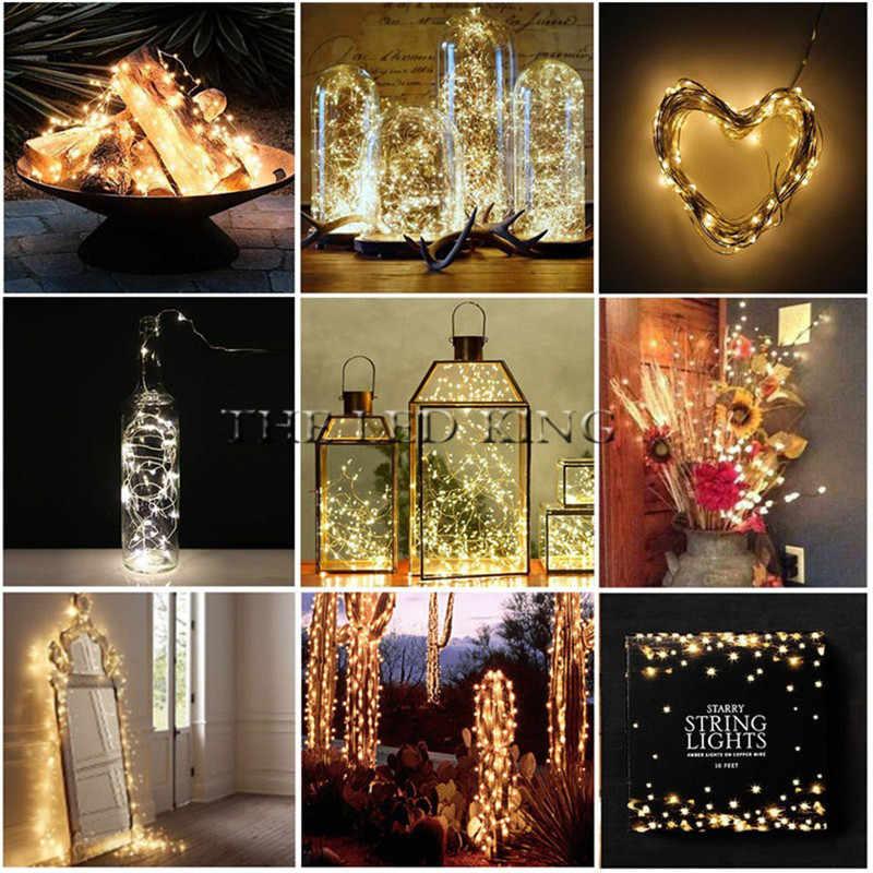 Großhandel Wasserdicht String licht Streifen Silber Draht Fee warme weiße Garland Home Weihnachten Hochzeit Party Dekoration USB 2M 10M