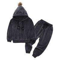 Одежда для новорожденных, комплект одежды для маленьких девочек, 2019 г., осенне-зимняя одежда для маленьких мальчиков толстовка с капюшоном + ...