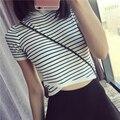 2016 Novas Mulheres Chegada do Verão Listrado Casuais T-shirt de Malha Irregular Projeto de Tricô Topos de Culturas