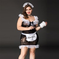 Maid Uniform Plus Size Costumes Role Play 2017 Women Sexy Lingerie Hot Sexy Underwear Lovely Female White Lace Erotic Costume