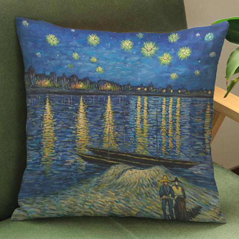 Manufacturers Direct Supply Van Gogh Painting Printed Soft Short Plush Decorative Pillow Home ...