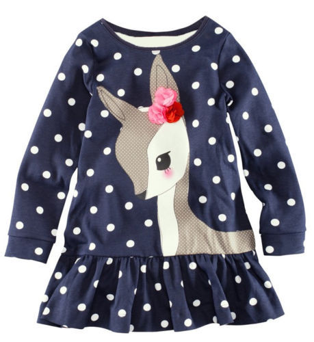1-7Y Baby Kids Girls Cute Deer Long Sleeve Cotton Polka Dots Top Dress T-Shirt toddlers girls dots deer pleated cotton dress long sleeve dresses page 10
