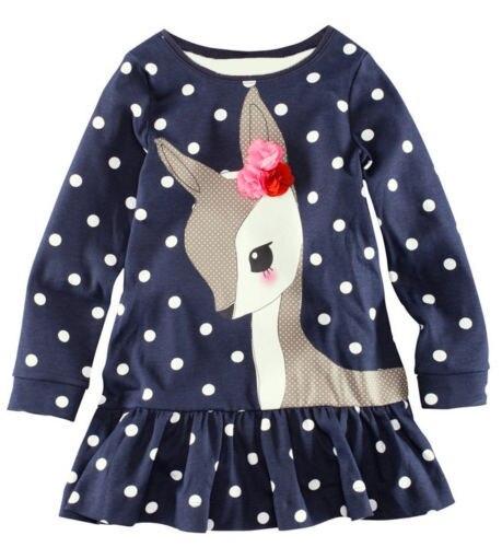 1-7Y Baby Kids Girls Cute Deer Long Sleeve Cotton Polka Dots Top Dress T-Shirt
