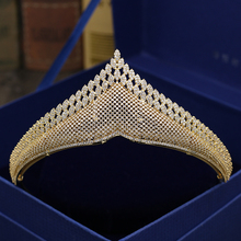 Fashion retro luxury palace crystal CZ zircon crown wedding bride dinner banquet dressing jewelry Beauty tiaras