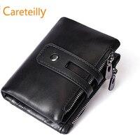 Minimalist Vintage Cowhide Leather Wallet With zipper pocket