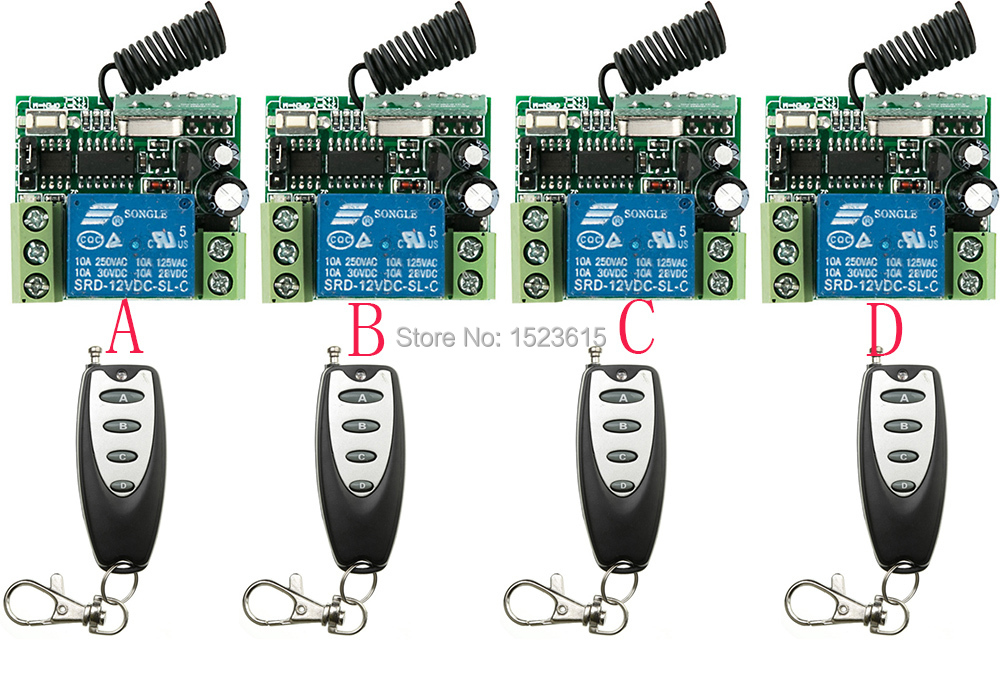 NEW DC12V 1CH 10A 4PCS Receiver + 4PCS Transmitter RF Wireless Remote Switch teleswitch Momenrary Toggle Latched Adjustable hack
