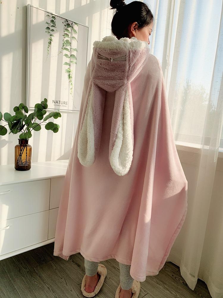 Cute Pink Comfy Blanket Sweatshirt Winter Warm Adults and Children Rabbit Ear Hooded Fleece Blanket Sleepwear Huge Bed Blankets 126