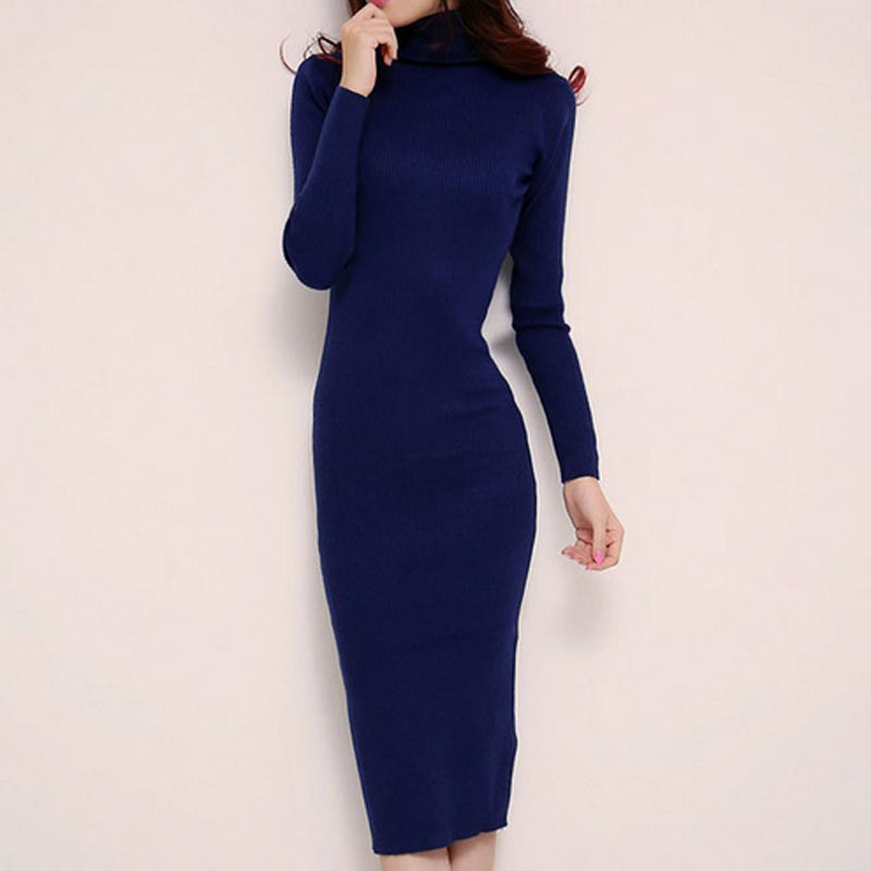 Turtleneck Sweater Dress 2017 Autumn Winter Brief High Neck Long Sleeve Stretch Bodycon Dress Knitted Sweater Dresses For Women