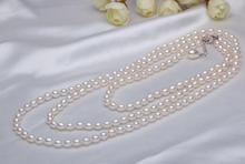 Terisa Pearljewelry White Genuine Freshwater Pearl Necklace Rice Top Quality AAA 5-6mm Fashion Lady's Wedding Party Jewelry