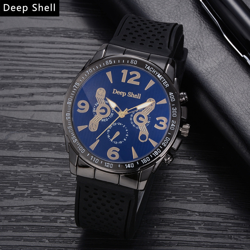Deepshell 2017 New Men Watch Top Brand Luxury Leather Engraved Dial Military Watches Clock Male Erkek Kol Saati Relogios s2
