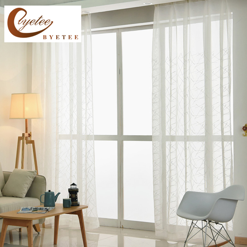 [byetee] White Embroidered Tulle Kitchen Sheer Curtains