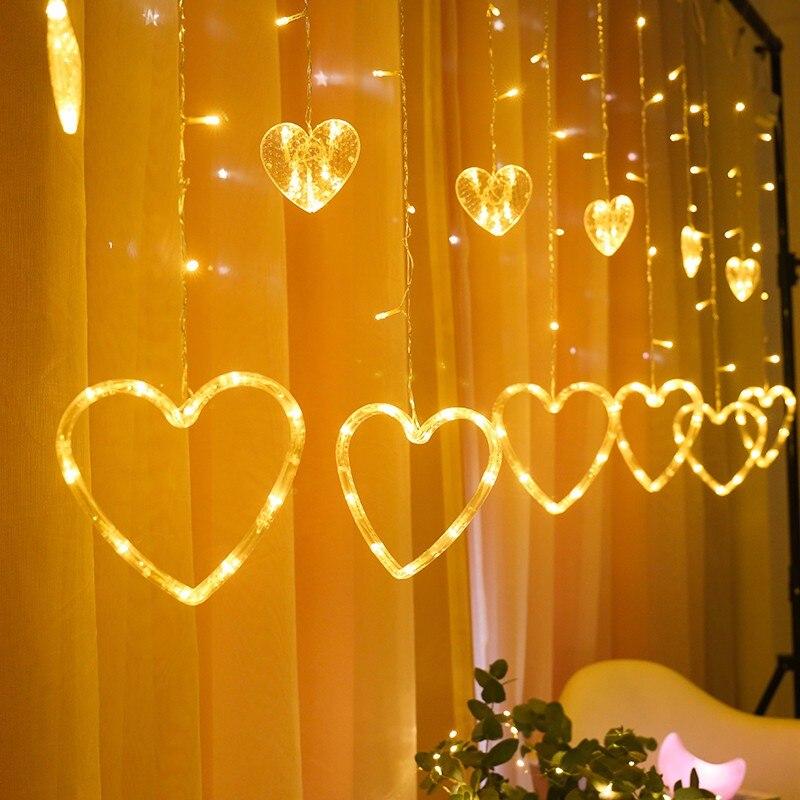 Cute Good Quality Heart Shape Led Icicle String Lights Led