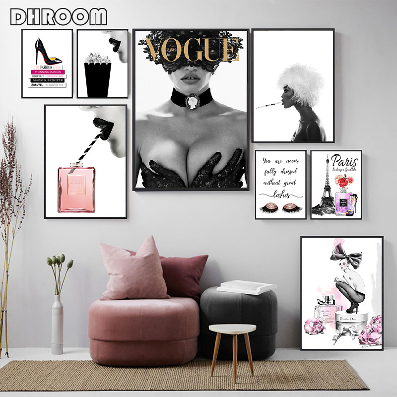 Fashion Posters Print Sexy High Heels Wall Art Cover Magazine Canvas Painting Perfume Home Decoration Girls Room Wall Pictures
