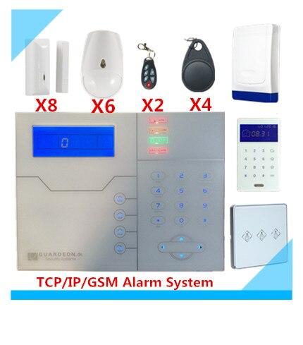 Grand Escompte Sans Fil TCP/IP GSM Alarme Système de Sécurité Protection Maison Intelligente système D'alarme Avec Alimentation Électrique Interrupteur
