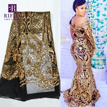 Dentelle en maille de haute qualité, Style paillettes dorées brillantes, Style africain, Guipure nets brodés en paillettes, pour mariage et fête