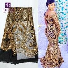 Tela de encaje de malla de alta calidad con lentejuelas bordadas, encaje de red de guipur para boda y fiesta, estilo africano, Oro brillante