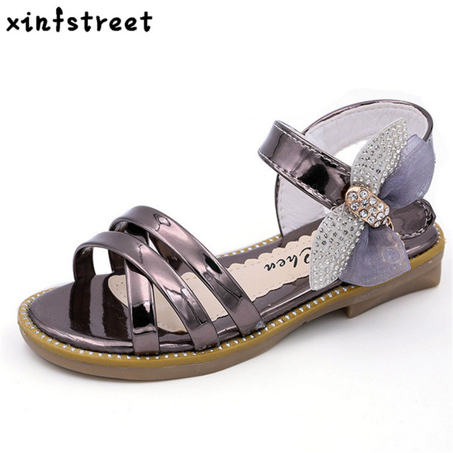 9313fee5b84514 Summer Girls Sandals Hot Children Shoes Princess Bow Open Toe Beach Sandals  for teen girls Size 27-37