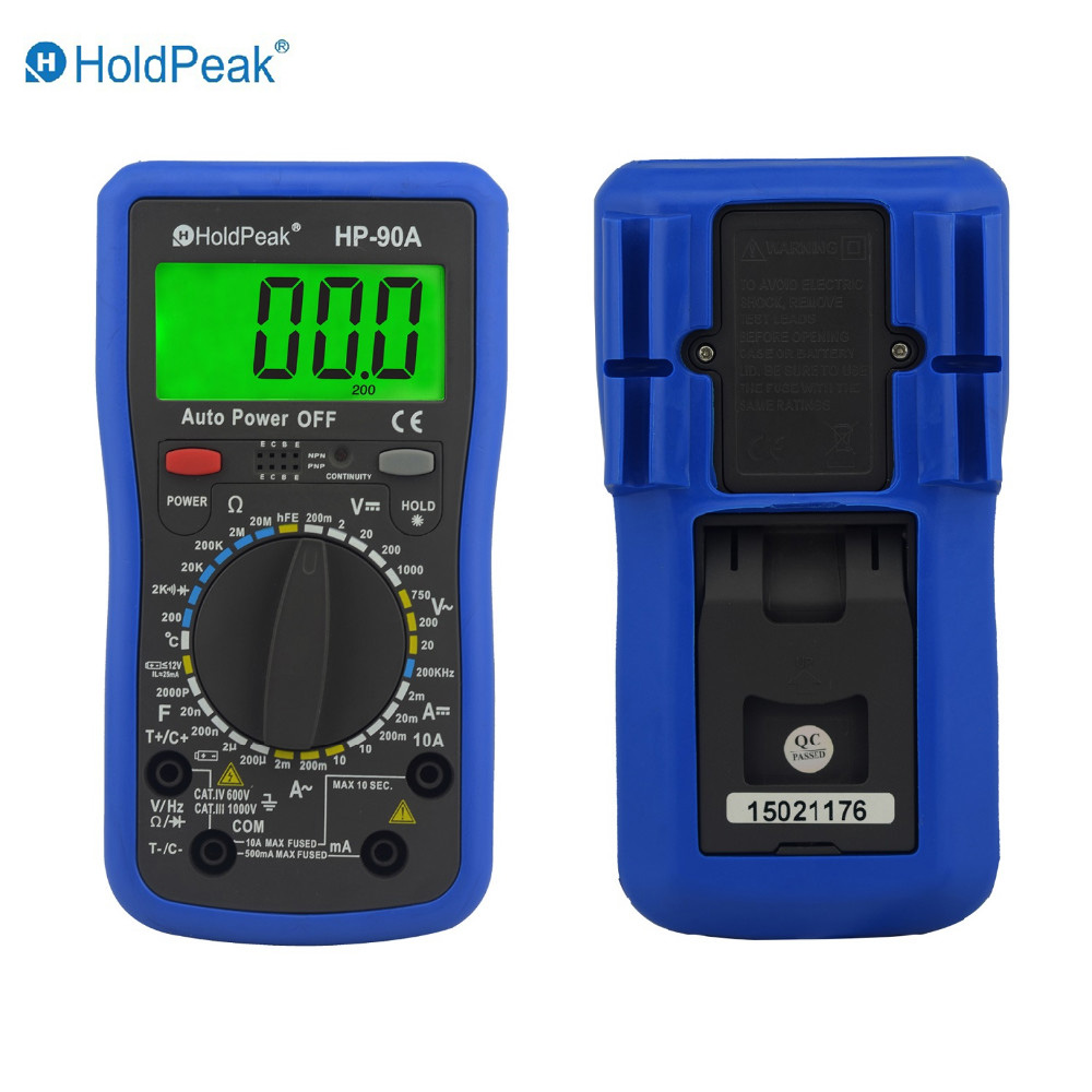 купить Multimetro Digital HoldPeak HP-90A Digital Multimeter Meter with Battery Test and Duty Cycle Capacitance Temperature по цене 3018.41 рублей
