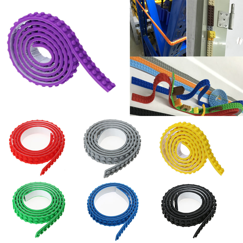 90CM 2X115 Dots Nimuno Loops Blocks Toy Adhesive Plastic Tape Kids Adults DIY Building Blocks Base Plate Sticky Backing Tape  1m 2x32 dots small nimuno loops plastic tape blocks base plate 1pcs building blocks diy baseplate compatible with lepin