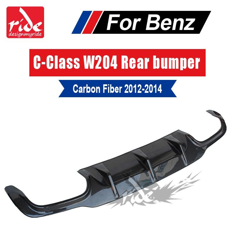 Classe C Fibra De Carbono spoiler traseiro lip Difusor Para Mercedes Benz W204 C180 C200 C250 C63 AMG Nenhum buraco Esporte amortecedor traseiro 2012-2014
