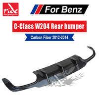 Diffuseur de becquet arrière en Fiber de carbone de classe C pour Mercedes Benz W204 C180 C200 C250 C63 AMG pare-chocs arrière Sport sans trou 2012-2014