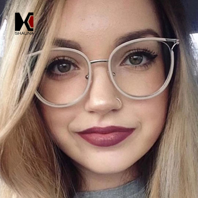 7ac2212db9398 SHAUNA New Arrival Oversize Women Cat Eye Glasses Frame Classic Hollow Out  Metal Material Men Clear Lens Glasses
