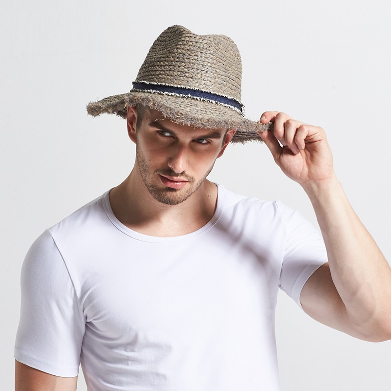 New Male Raffia Sun Hat Wide Brim Adult Spring British Male Sun Cap Men's  Outdoor Summer Travel Hat Panama Straw Hat B-7736