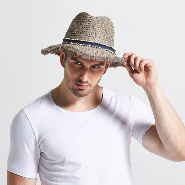 New Male Raffia Sun Hat Wide Brim Adult Spring British Male Sun Cap Men s  Outdoor Summer Travel Hat Panama Straw Hat B-7736 6970e918543