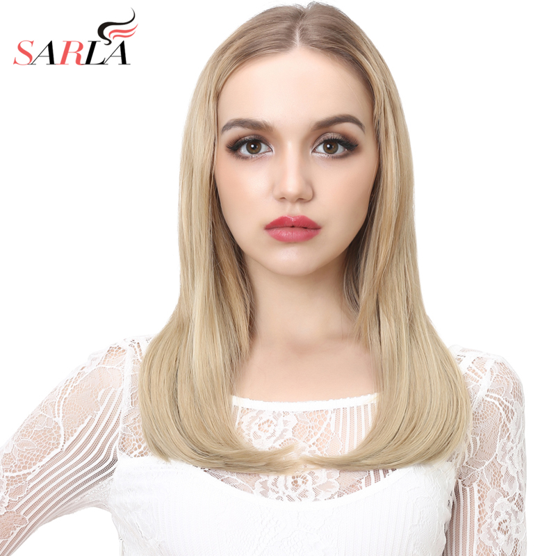 SARLA 18'' U-Part Half Wig Synthetic  Wigs For Women Natural False Blonde Short Wig For Ladies Clip-in Hairpieces UW06