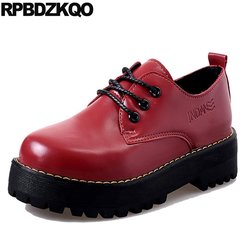 Women Cheap Shoes China Fashion Lace Up Female Red Creepers Platform Thick Sole Flats Elevator Latest European Drop Shipping
