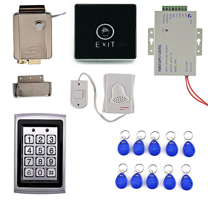 Touch Screen Door Switch Button+125KHZ RFID Metal Case Keypad Door Access Control Security System Kit +Door Bell metal outdoor keypad access control door locks door bell for home office security look pick tool