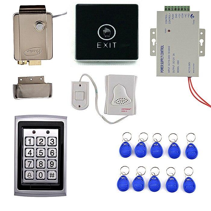 Touch Screen Door Switch Button+125KHZ RFID Metal Case Keypad Door Access Control Security System Kit +Door Bell